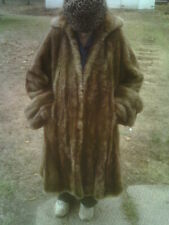 Vintage Cyotte 1950s Fur Coat, Mid Calf length Full lined Very Heavy Coat Large