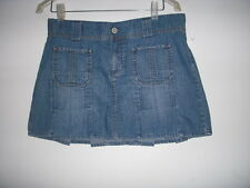 Old Navy Pleated Denim Jean Mini Skirt size 6 ultra low waist stripper beach