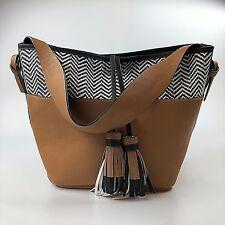 Aldo Leather Tassle Bucket Bag Tote Purse Top Handle Shoulder Chevron Boho