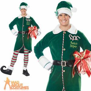 Adult Mens Workshop Elf Costume Christmas Santas Helper Fancy Dress Outfit