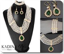 Luxus Schmuck Set 3 Tlg Perlen Kette Ohrringe Armband  Gold Pl Jade Braut Paris