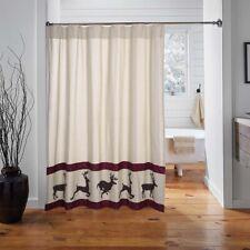 VHC Rustic Shower Curtain Wyatt Deer Bath Rod Pocket Tan Chambray Cotton
