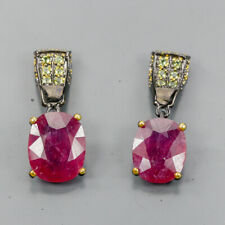 Vintage35ct+ Natural Ruby 925 Sterling Silver Earrings /E34857