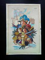 Peinture Gaston André marine Pirates & Corsaires signé tableau illustration