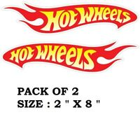 """2 pack Hot Wheels Decals Car Sticker Red Yellow and White Vinyl New 8"""" x 2"""" each"""