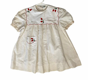 Vtg Girls Paper White Brand Linen Cotton Dress Hand Embroidered Bib Sz 5 1983