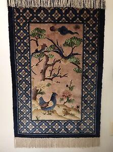 Chinese Silk Throw Rug  3' X 2'  Blue/Bird & Tree Pattern Super Condition!!