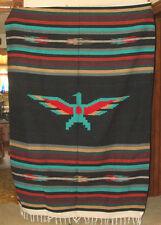 Mexican Blanket Throw Thunderbird Black Center Woven BIG 5'x7' size