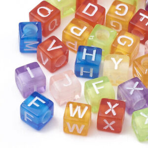 150+ Transpare Acrylic Mix Colors Square Round Alphabet Letter Beads 6x6/7mm USA
