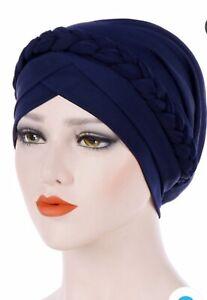 Turban Hat Braided Chemo HairLoss Bandana Fashion Hijab Cap Women HeadWrap Scarf