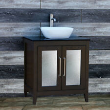 "30"" Bathroom Espresso Vanity 30-inch Cabinet Black Granit Top vessel Sink A30E-B"