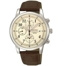 Seiko Gents Chronograph Leather Strap Watch - SNDC31P1 NEW