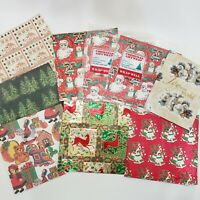 """Christmas Gift Wrap Vintage Wrapping Paper 30"""" x 20"""" Santas Bells Toys 12 Sheets"""