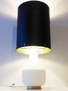 CHIC & IMPORTANTE LAMPE D'AMBIANCE OPALINE & ABAT-JOUR GEANT INOX 70's VINTAGE