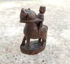 1800's ANTIQUE SCARCE HAND CARVED TRIBAL MAN ON HORSE ABANOS WOOD FIGURE/STATUE