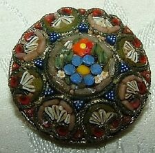 Micro Mosaic Small Collar Pin Beautiful Antique Victorian Floral Mini