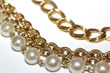 Vintage Stunning Faux Pearls Gold Tone Chains Three Cascading Belt MS3