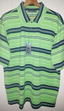 NEW Peeble Beach Golf Polo Shirt Men's XL Green & Navy Blue