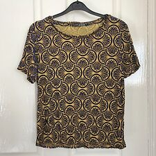 Mustard Yellow Vintage Print Velvet Short Sleeve T Shirt Size 10