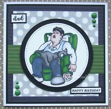 Handmade Funny Dad in Armchair With Cat Birthday Card for Dad