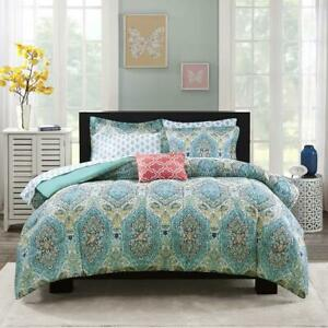 Blue Teal Paisley 8 Piece Bed in a Bag Comforter Set Sheets Shams Multi Size New