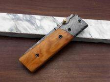 """7.5"""" Tanto blade folding knife, Hand forged Damascus steel,  Cow Leather sheath"""