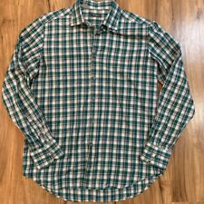 Saks Fifth Avenue Mens Button-Front Shirt Green White Plaid Long Sleeve Cotton L