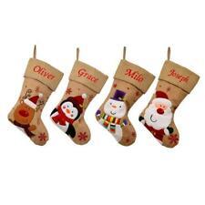 Personalised Luxury Embroidered Hessian Stocking Sack Santa Deluxe Christmas