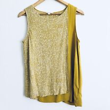 White Stuff Linen Asymmetric Top Mustard / Green UK 12