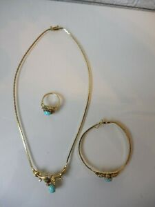 Fine Jewelry Set__925 Silver Gold Plated, With Turquoise, Chain, Bracelet, Ring