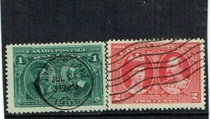 1908 CANADA 300th ANNIVERSARY OF QUEBEC 1 & 2 CENT USED. SG189,190. SEE SCANS