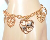 BRACCIALE donna oro ciondoli cuore argento catena regalo san valentino E18