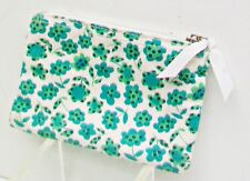 POUT Victoria's Secret Green Floral Print Makeup Cosmetic Bag Plaid Lining