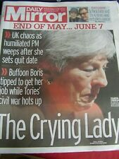 DAILY MIRROR NEWSPAPER MAY 25 2019 PRIME MINISTER TERESA MAY QUITS CRYING LADY