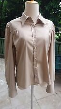 Women's Prada Vintage Long Sleeve Beige Tan Brown Shirt Button Down Size L