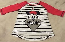Minnie Mouse Girl's XS(4/5) Tee White With Black Stripes And Red Sleeves~ Cute