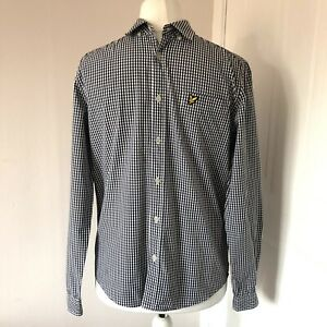 Lyle & Scott Navy Blue & White Checked Shirt Size M Long Sleeved 100% Cotton