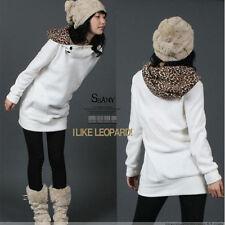 New Women Leopard Hooded Long Sleeve Pullover Jacket Coat Sweats Hoodies