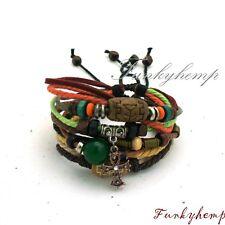 2 Hemp Leather Bracelets w Rhinestone Copper Ankh & Agate/Wood Beads W9-2