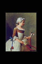 401094 Girl With Battledore And Shuttlecock J B Simeon Chardin A4 Photo Print