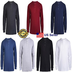 New Mens Thermal Henley Shirt T-shirts Long Sleeve Cotton Pullover Comfy Button