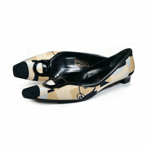 Vintage leather gold shoes square toe frontal flounce chunky heels sling back Women size 39 Made in Spain glamour festival footwear 90s