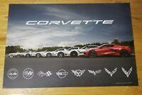 "Authentic Generation Corvette Poster w/2020 Corvette Stingray 24"" x 36"" 2 Sided"