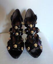 Baker's Danaka Black Gold Studded Peep Hole Platform High Heel Shoes 8M