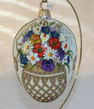 Handblown Glass Easter Egg Ornament Hand Painted & Decorated From Poland ~ New ~
