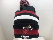 Miami Heat NBA Cuffed Knit Winter Beanie Hat Pom Top  Cap NEW
