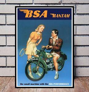 BSA Bantam Vintage Motor Bike Picture Poster Banner  (TP321)