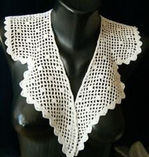 Old Vtg Edwardian Collar beautiful hand crochet lace deco dotted design