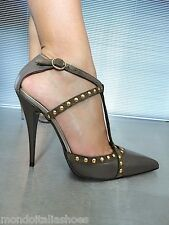 MORI MADE IN ITALY STUDS NEW HIGH HEELS PUMPS SCHUHE SHOES LEATHER BEIGE NUDE 40