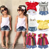 2PCS Toddler Kids Baby Girls Clothes Outfits T-shirt Tops+Denim Shorts Pants Set